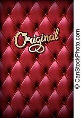 cuir, authentique, rouges, buttoned