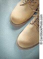 cuir, béton, sécurité, fond, bottes