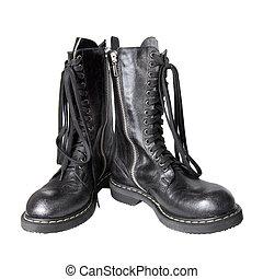 cuir, blanc, noir, isolé, bottes