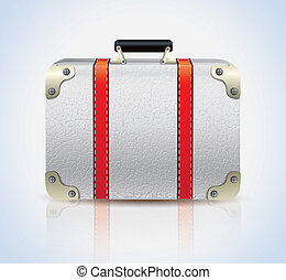 cuir, blanc, valise