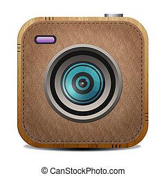 cuir, bon appareil-photo, léger brun