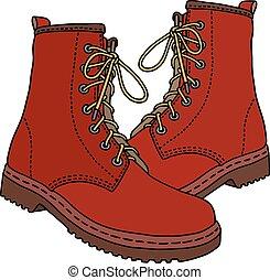 cuir, bottes rouges