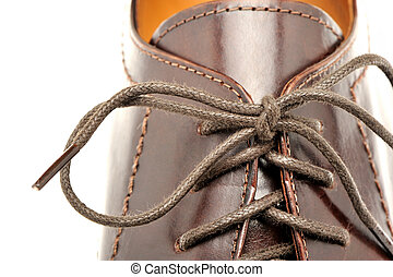 cuir, brun, chaussures, homme