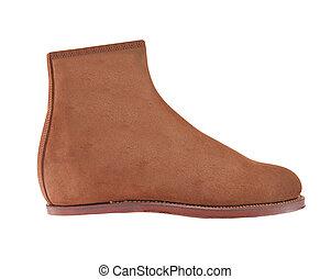 cuir, brun, daim, chaussure