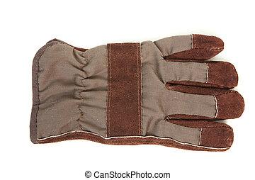 cuir, brun, gants