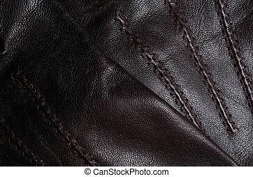 cuir, brun, gants, détail