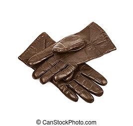 cuir, brun, gants, isolé, paire