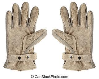 cuir, brun, gants, isolé, wh
