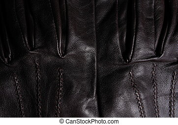 cuir, brun, ii, gants, détail