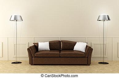 cuir, brun, lumineux, salle, sofa