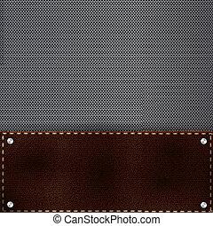 cuir, brun, métal, fond, grille