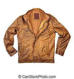 cuir, brun, veste