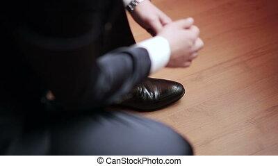 cuir, chaussures, attachement, homme