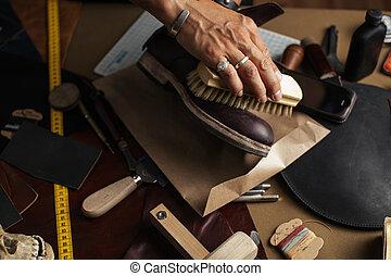 cuir, chaussures, haut, tondu, bottes, mains, fin, cordonnier, frottement, soin