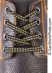 cuir, close-up., chaussure noire, dentelles