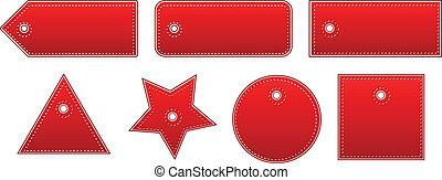 cuir, coût, ensemble, rouges, étiquettes