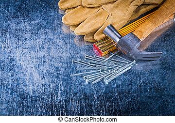 cuir, construction, gants, clous, bois, mesurer, mètre, et,...