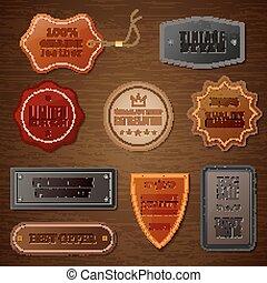 cuir, ensemble, étiquette