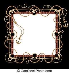 cuir, ensemble, doré, ceintures, carrée, brun, rings., rond, frame., frontière