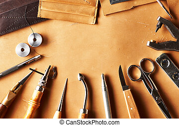 cuir, faire, outils