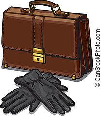 cuir, gants, serviette