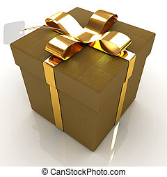 cuir, gift-box, ruban or