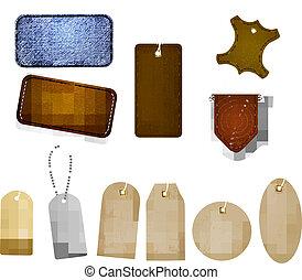 cuir, grand, tags., ensemble, étiquettes