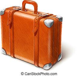 cuir, grand, valise