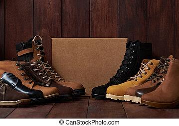 cuir, groupe, chaussures, coloré