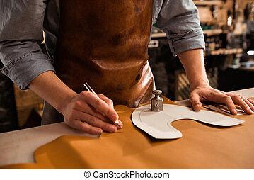 cuir, haut, textile, découpage, fin, cordonnier, mâle