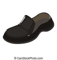cuir, icône, isométrique, style, chaussure