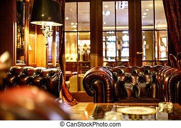 cuir, intérieur, chaise, luxe, cabinet