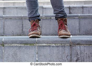 cuir, mâle, étapes, bottes