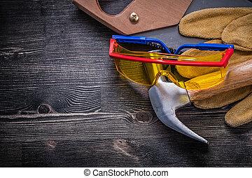 cuir, marteau, main, sécurité, griffe, gants, scie, lunettes