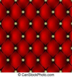 cuir, modèle, tapisserie ameublement, rouges