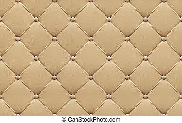 cuir, modèle, tapisserie ameublement, seamless, beige