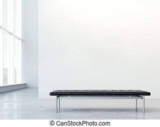 cuir noir, entraîneur, dans, moderne, interior., 3d, rendre