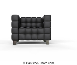 cuir noir, fauteuil