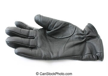 cuir, noir, gant