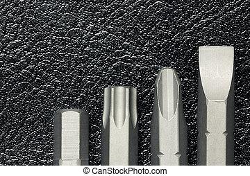 cuir, replaceable, bits, screwdrive, fond