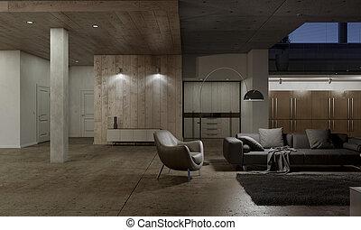 cuir, salle de séjour, fauteuil