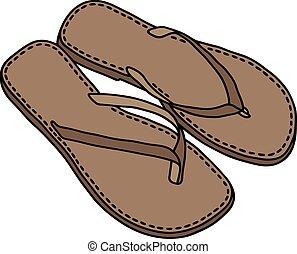 cuir, sandales