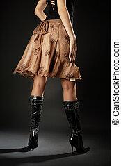 cuir, sur, long, noir, bottes, jambes