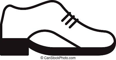 cuir, vecteur, chaussure, icône