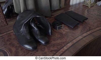 cuir, vendange, hommes, bottes, chevet, stand, table, miroir...