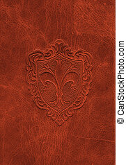 cuir, vendange, symbole, fleur-de-lis, texture