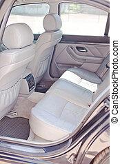 cuir, voiture, blanc, arrière, sièges