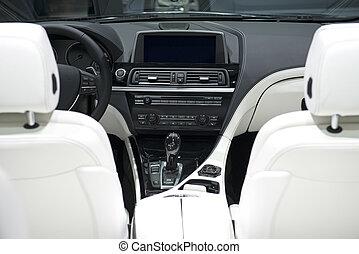 cuir, voiture, blanc, tableau bord, sièges