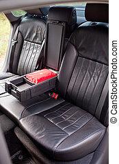 cuir, voiture, luxe, sièges, arrière, accoudoir