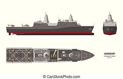 cuirassé, détaillé, uss, 3d, image, ship., isolé, dessin, navire guerre, vue., model., boat., réaliste, côté, devant, sommet, militaire, style, industriel